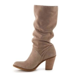 Lucky Brand Everdein Oiled Suede Slouch Boots NWOT